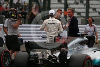 World © Octane Photographic Ltd. Formula 1 - Japanese Grand Prix - Saturday - Qualifying. Lewis Hamilton - Mercedes AMG Petronas F1 W08 EQ Energy+ on track to be interviewed. Suzuka Circuit, Suzuka, Japan. Saturday 7th October 2017. Digital Ref:1977LB2D5154