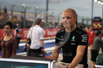 World © Octane Photographic Ltd. Formula 1 - Singapore Grand Prix - Drivers' parade. Valtteri Bottas - Mercedes AMG Petronas F1 W08 EQ Energy+. Marina Bay Street Circuit, Singapore. Sunday 17th September 2017. Digital Ref: