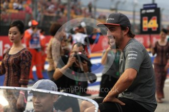 World © Octane Photographic Ltd. Formula 1 - Singapore Grand Prix - Drivers' parade. Fernando Alonso - McLaren Honda MCL32. Marina Bay Street Circuit, Singapore. Sunday 17th September 2017. Digital Ref: