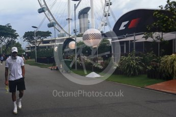 World © Octane Photographic Ltd. Formula 1 - Singapore Grand Prix - Paddock. Lewis Hamilton - Mercedes AMG Petronas F1 W08 EQ Energy+. Marina Bay Street Circuit, Singapore. Sunday 17th September 2017. Digital Ref: