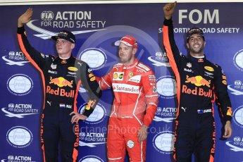 World © Octane Photographic Ltd. Formula 1 - Singapore Grand Prix - Qualifying. Sebastian Vettel - Scuderia Ferrari SF70H, Daniel Ricciardo and Max Verstappen - Red Bull Racing RB13. Marina Bay Street Circuit, Singapore. Saturday 16th September 2017. Digital Ref:1963LB1D2722