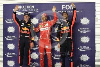 World © Octane Photographic Ltd. Formula 1 - Singapore Grand Prix - Qualifying. Sebastian Vettel - Scuderia Ferrari SF70H, Daniel Ricciardo and Max Verstappen - Red Bull Racing RB13. Marina Bay Street Circuit, Singapore. Saturday 16th September 2017. Digital Ref:1963LB1D2739