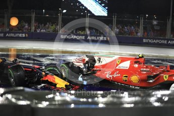 World © Octane Photographic Ltd. Formula 1 - Singapore Grand Prix - Race. The wrecked Red Bull Racing RB13 and Scuderia Ferrari SF70H of Max Verstappen and Kimi Raikkonen. Marina Bay Street Circuit, Singapore. Sunday 17th September 2017. Digital Ref: