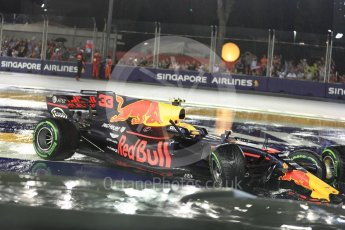 World © Octane Photographic Ltd. Formula 1 - Singapore Grand Prix - Race. The wrecked Red Bull Racing RB13 of Max Verstappen. Marina Bay Street Circuit, Singapore. Sunday 17th September 2017. Digital Ref: