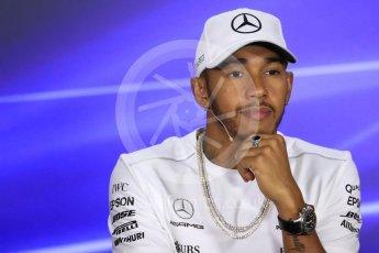 World © Octane Photographic Ltd. Formula 1 - Singapore Grand Prix – Thursday Driver Press Conference – Part 1. Lewis Hamilton - Mercedes AMG Petronas F1 Team. Marina Bay Street Circuit, Singapore. Thursday 14th September 2017. Digital Ref: 1956LB1D7326