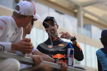 World © Octane Photographic Ltd. Formula 1 – Abu Dhabi GP - Drivers Parade. Aston Martin Red Bull Racing TAG Heuer RB14 – Daniel Ricciardo. Yas Marina Circuit, Abu Dhabi. Sunday 25th November 2018.