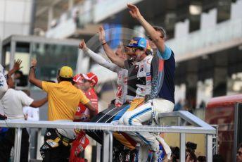 World © Octane Photographic Ltd. Formula 1 – Abu Dhabi GP - Drivers Parade. Haas F1 Team VF-18 – Kevin Magnussen and Romain Grosjean, McLaren MCL33 – Fernando Alonso and Williams Martini Racing FW41 – Sergey Sirotkin. Yas Marina Circuit, Abu Dhabi. Sunday 25th November 2018.