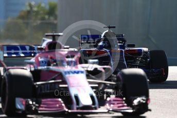 World © Octane Photographic Ltd. Formula 1 –  Abu Dhabi GP - Practice 1. Racing Point Force India VJM11 - Sergio Perez and Scuderia Toro Rosso STR13 – Brendon Hartley. Yas Marina Circuit, Abu Dhabi. Friday 23rd November 2018.