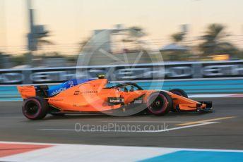World © Octane Photographic Ltd. Formula 1 –  Abu Dhabi GP - Practice 2. McLaren MCL33 – Stoffel Vandoorne. Yas Marina Circuit, Abu Dhabi. Friday 23rd November 2018.