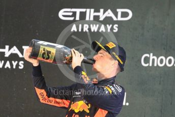 World © Octane Photographic Ltd. Formula 1 – Abu Dhabi GP - Podium. Aston Martin Red Bull Racing TAG Heuer RB14 – Max Verstappen. Yas Marina Circuit, Abu Dhabi. Sunday 25th November 2018.