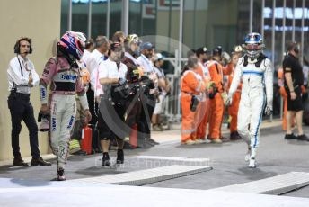 World © Octane Photographic Ltd. Formula 1 –  Abu Dhabi GP - Parc Ferme. Williams Martini Racing FW41 – Sergey Sirotkin and Mercedes AMG Petronas Motorsport AMG F1 W09 EQ Power+ - Valtteri Bottas. Yas Marina Circuit, Abu Dhabi. Sunday 25th November 2018.