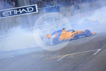 World © Octane Photographic Ltd. Formula 1 –  Abu Dhabi GP - Post-race celebration. McLaren MCL33 – Fernando Alonso. Yas Marina Circuit, Abu Dhabi. Sunday 25th November 2018.