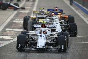 World © Octane Photographic Ltd. Formula 1 –  Abu Dhabi GP - Race. Alfa Romeo Sauber F1 Team C37 – Charles Leclerc and Marcus Ericsson, Renault Sport F1 Team RS18 – Carlos Sainz and McLaren MCL33 – Fernando Alonso. Yas Marina Circuit, Abu Dhabi. Sunday 25th November 2018.