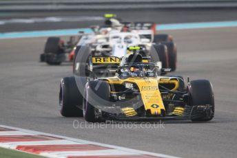 World © Octane Photographic Ltd. Formula 1 –  Abu Dhabi GP - Race. Renault Sport F1 Team RS18 – Carlos Sainz, Alfa Romeo Sauber F1 Team C37 – Marcus Ericsson and Haas F1 Team VF-18 – Kevin Magnussen. Yas Marina Circuit, Abu Dhabi. Sunday 25th November 2018.