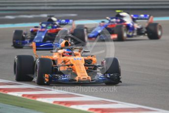World © Octane Photographic Ltd. Formula 1 –  Abu Dhabi GP - Race. McLaren MCL33 – Fernando Alonso and Scuderia Toro Rosso STR13 – Brendon Hartley and Pierre Gasly. Yas Marina Circuit, Abu Dhabi. Sunday 25th November 2018.