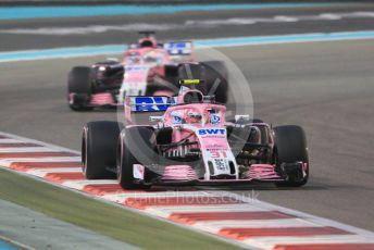 World © Octane Photographic Ltd. Formula 1 –  Abu Dhabi GP - Race. Racing Point Force India VJM11 - Esteban Ocon and Sergio Perez. Yas Marina Circuit, Abu Dhabi. Sunday 25th November 2018.