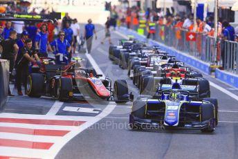World © Octane Photographic Ltd. FIA Formula 2 (F2) – Abu Dhabi GP - Practice. Carlin - Lando Norris and ART Grand Prix - George Russell. . Yas Marina Circuit, Abu Dhabi. Friday 23rd November 2018.