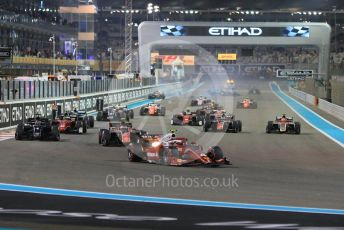 World © Octane Photographic Ltd. FIA Formula 2 (F2) – Abu Dhabi GP - Race 1. Prema Powerteam - Nyck de Vries leads the race start as chaos reigns at the back of the grid. Yas Marina Circuit, Abu Dhabi. Saturday 24th November 2018.