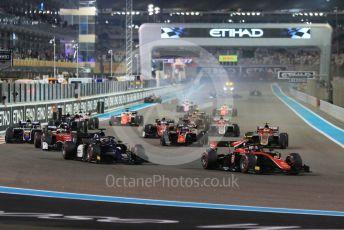 World © Octane Photographic Ltd. FIA Formula 2 (F2) – Abu Dhabi GP - Race 1. Prema Powerteam - Nyck de Vries leads the race start as chaos reigns at the back of the grid. Yas Marina Circuit, Abu Dhabi. Saturday 24th November 2018.
