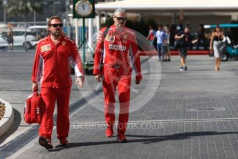 World © Octane Photographic Ltd. Formula 1 - Abu Dhabi GP - Paddock. Maurizio Arrivabene – Managing Director and Team Principal of Scuderia Ferrari and Gino Rosato – Ferrari Corporate Affairs. Yas Marina Circuit, Abu Dhabi. Friday 23rd November 2018.