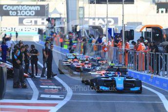 World © Octane Photographic Ltd. GP3 – Abu Dhabi GP – Practice. The cars line up ready for the green light. Yas Marina Circuit, Abu Dhabi. Friday 23rd November 2018.