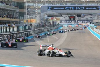 World © Octane Photographic Ltd. GP3 – Abu Dhabi GP – Race 1. Campos Racing – Leodardo Pulcini leads on lap 2. Yas Marina Circuit, Abu Dhabi. Saturday 24th November 2018.