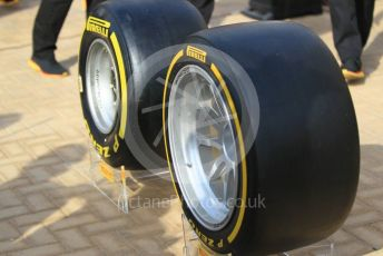 "World © Octane Photographic Ltd. Formula 1 –  Abu Dhabi GP - Paddock. New 19 inch (19"") Pirelli F1 tyre unveiled. Yas Marina Circuit, Abu Dhabi. Sunday 25th November 2018."