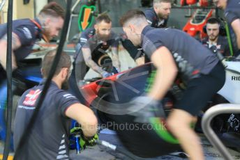 World © Octane Photographic Ltd. Formula 1 –  Abu Dhabi GP - Pit Lane. Haas F1 Team VF-18 – practice pit stop. Yas Marina Circuit, Abu Dhabi. Thursday 22nd November 2018.