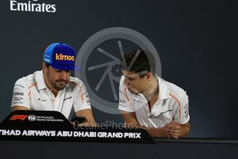 World © Octane Photographic Ltd. Formula 1 – Abu Dhabi GP - FIA Drivers' Press Conference. McLaren – Fernando Alonso and Lando Norris - 2019 McLaren Driver. Yas Marina Circuit, Abu Dhabi. Thursday 22nd November 2018.