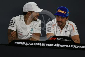 World © Octane Photographic Ltd. Formula 1 – Abu Dhabi GP - FIA Drivers' Press Conference. Mercedes AMG Petronas Motorsport - Lewis Hamilton and McLaren – Fernando Alonso. Yas Marina Circuit, Abu Dhabi. Thursday 22nd November 2018.
