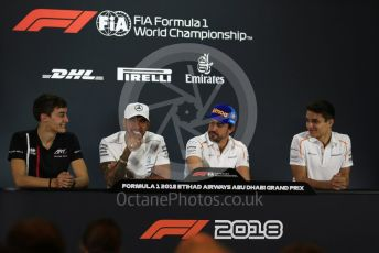 World © Octane Photographic Ltd. Formula 1 – Abu Dhabi GP - FIA Drivers' Press Conference. McLaren – Fernando Alonso, Mercedes AMG Petronas Motorsport - Lewis Hamilton, Lando Norris - 2019 McLaren Driver  and George Russell - 2019 Williams Driver. Yas Marina Circuit, Abu Dhabi. Thursday 22nd November 2018.