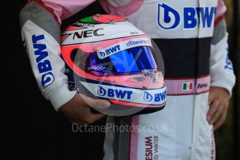 World © Octane Photographic Ltd. Formula 1 – Australian GP - Driver Photo Call. Sahara Force India VJM11 - Sergio Perez. Albert Park, Melbourne, Australia. Thursday 22ndMarch 2018.