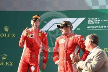 World © Octane Photographic Ltd. Formula 1 – Australian GP - Podium. Scuderia Ferrari SF71-H – Sebastian Vettel (1st) and Kimi Raikkonen (3rd). Albert Park, Melbourne, Australia. Sunday 25th March 2018.