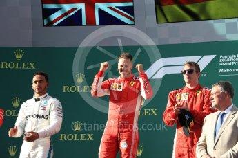 World © Octane Photographic Ltd. Formula 1 – Australian GP - Podium. Scuderia Ferrari SF71-H – Sebastian Vettel (1st), Mercedes AMG Petronas Motorsport AMG F1 W09 EQ Power+ - Lewis Hamilton (2nd) and Kimi Raikkonen (3rd). Albert Park, Melbourne, Australia. Sunday 25th March 2018.