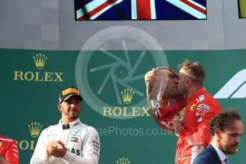 World © Octane Photographic Ltd. Formula 1 – Australian GP - Podium. Scuderia Ferrari SF71-H – Sebastian Vettel (1st), Mercedes AMG Petronas Motorsport AMG F1 W09 EQ Power+ - Lewis Hamilton (2nd). Albert Park, Melbourne, Australia. Sunday 25th March 2018.