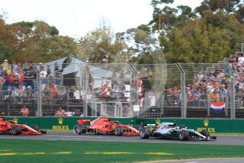 World © Octane Photographic Ltd. Formula 1 – Australian GP - Race. Mercedes AMG Petronas Motorsport AMG F1 W09 EQ Power+ - Lewis Hamilton and Scuderia Ferrari SF71-H – Kimi Raikkonen. Albert Park, Melbourne, Australia. Sunday 25th March 2018.