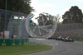 World © Octane Photographic Ltd. Formula 1 – Australian GP - Race. The pack fights in to turns 2 and 3. Albert Park, Melbourne, Australia. Sunday 25th March 2018.