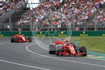 World © Octane Photographic Ltd. Formula 1 – Australian GP - Race. Scuderia Ferrari SF71-H - Kimi Raikkonen and Sebastian Vettel. Albert Park, Melbourne, Australia. Sunday 25th March 2018.