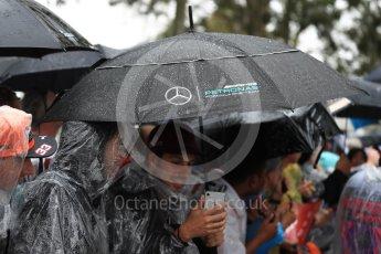World © Octane Photographic Ltd. Formula 1 – Australian GP - Saturday Melbourne Walk. Fans in the rain waiting for the drivers. Albert Park, Melbourne, Australia. Saturday 24th March 2018