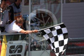 World © Octane Photographic Ltd. Formula 1 – Austrian GP - Race Podium. VIP waving the chequered flag. Red Bull Ring, Spielberg, Austria. Sunday 1st July 2018.