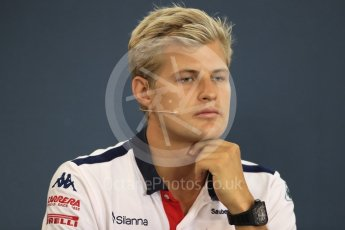 World © Octane Photographic Ltd. Formula 1 – Belgian GP - FIA Drivers' Press Conference. Alfa Romeo Sauber F1 Team – Marcus Ericsson. Spa-Francorchamps, Belgium. Thursday 23rd August 2018.