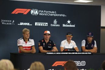 World © Octane Photographic Ltd. Formula 1 – Belgian GP - FIA Drivers' Press Conference. Alfa Romeo Sauber F1 Team – Marcus Ericsson, Williams Martini Racing – Lance Stroll, McLaren – Stoffel Vandoorne and Aston Martin Red Bull Racing TAG Heuer – Max Verstappen. Spa-Francorchamps, Belgium. Thursday 23rd August 2018.