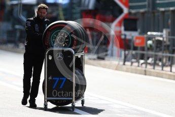 World © Octane Photographic Ltd. Formula 1 – Belgian GP - Practice 3. Mercedes AMG Petronas mechanic with tires. Spa-Francorchamps, Belgium. Saturday 25th August 2018.