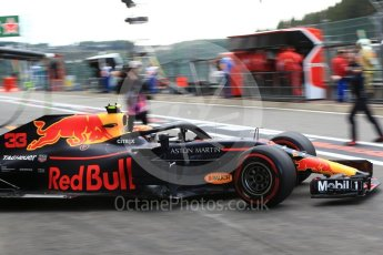 World © Octane Photographic Ltd. Formula 1 – Belgian GP - Practice 3. Aston Martin Red Bull Racing TAG Heuer RB14 – Max Verstappen. Spa-Francorchamps, Belgium. Saturday 25th August 2018.