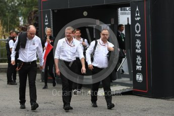 World © Octane Photographic Ltd. Formula 1 - Belgian GP – Paddock. Simon Cole - Mercedes AMG F1 Chief Track Engineer and Ron Meadows - Mercedes AMG F1 Team Manager. Spa-Francorchamps, Belgium. Friday 24th August 2018.