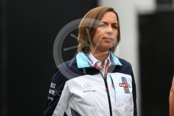 World © Octane Photographic Ltd. Formula 1 - Belgian GP - Paddock. Claire Williams - Deputy Team Principal of Williams Martini Racing. Spa-Francorchamps, Belgium. Friday 24th August 2018.