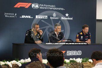 World © Octane Photographic Ltd. Formula 1 - Belgian GP - Friday FIA Team. Cyril Abiteboul - Managing Director of Renault Sport Racing Formula 1 Team, Gil De Ferran - Sporting Director of McLaren and Christian Horner - Team Principal of Red Bull Racing. Spa-Francorchamps, Belgium. Friday 24th August 2018.
