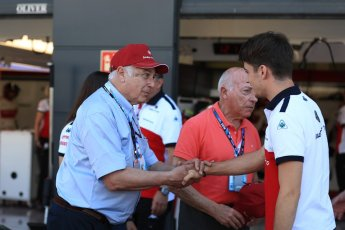 World © Octane Photographic Ltd. Formula 1 - British GP - Paddock. Ruben Juan Fangio - son of Juan Manuel Fangio, Alfa Romeo Sauber F1 Team C37 – Charles Leclerc and Frederic Vasseur – Team Principal and CEO of Sauber Motorsport AG. Silverstone Circuit, Towcester, UK. Sunday 8th July 2018.