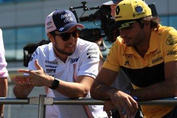 World © Octane Photographic Ltd. Formula 1 – British GP - Drivers' Parade. Renault Sport F1 Team RS18 – Carlos Sainz and Sahara Force India VJM11 - Sergio Perez. Silverstone Circuit, Towcester, UK. Sunday 8th July 2018.