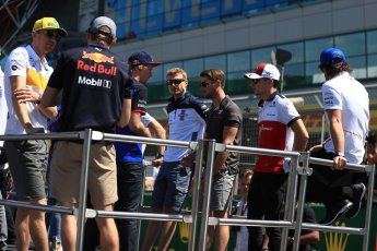 World © Octane Photographic Ltd. Formula 1 – British GP - Drivers' Parade. Renault Sport F1 Team RS18 – Nico Hulkenberg and Aston Martin Red Bull Racing TAG Heuer RB14 – Max Verstappen. Silverstone Circuit, Towcester, UK. Sunday 8th July 2018.